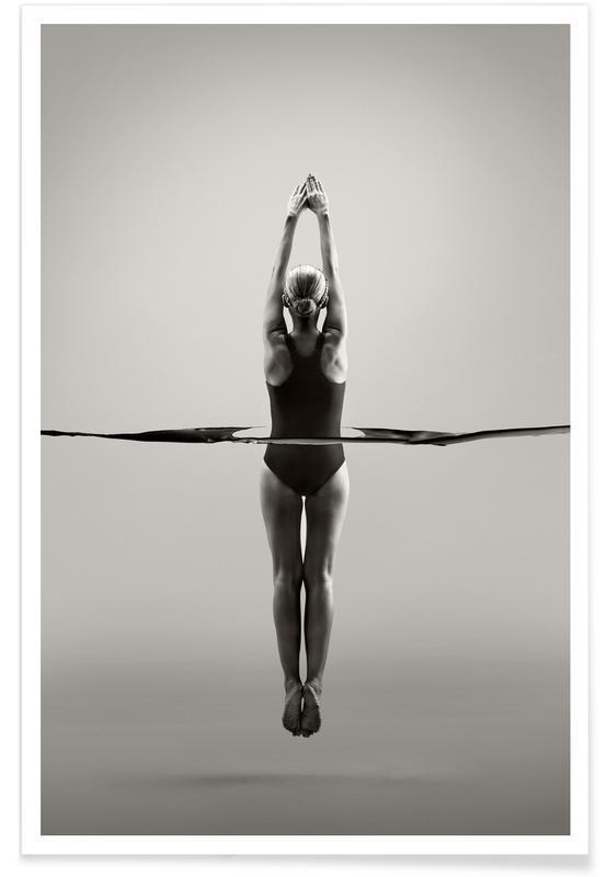 Danse, Photos de mode, Noir & blanc, Water Ballerina affiche