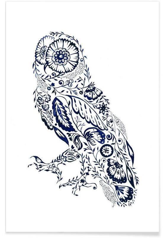 Eulen, Folk Floral Owl -Poster
