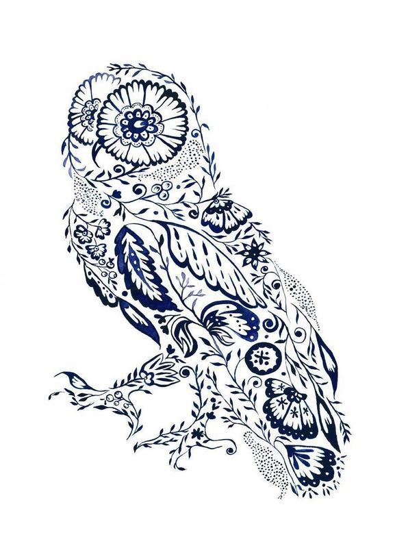 Folk Floral Owl toile