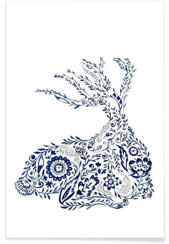 Deer, Folk Floral Deer Poster