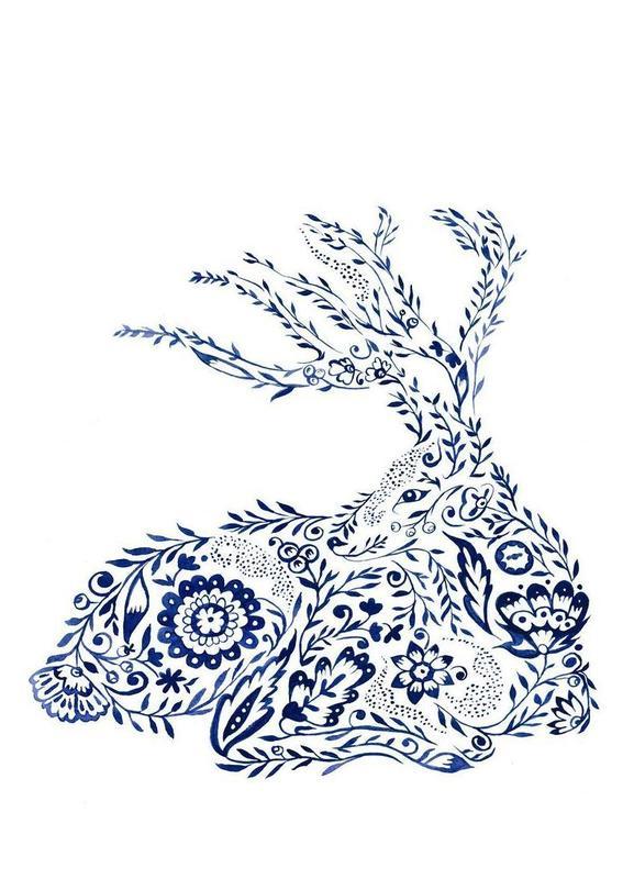 Folk Floral Deer Canvas Print