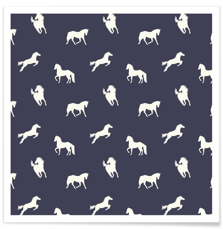 Horse print (Navy slate) affiche