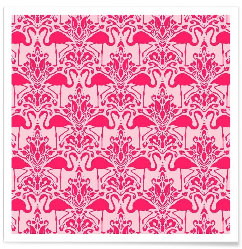 Flamants roses, Flamingo Damask - pink affiche