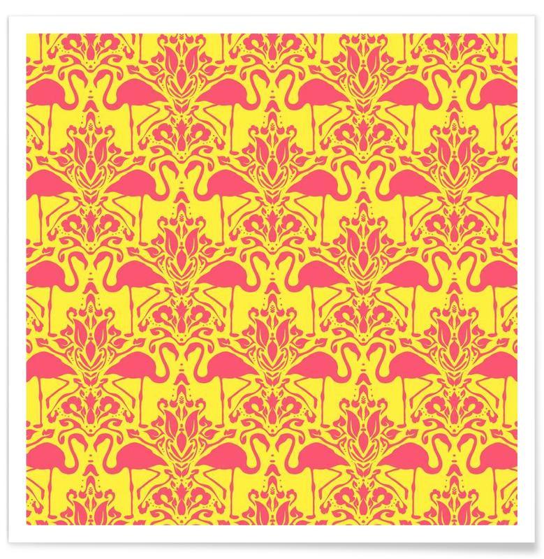 Flamants roses, Flamingo Damask - yellow affiche