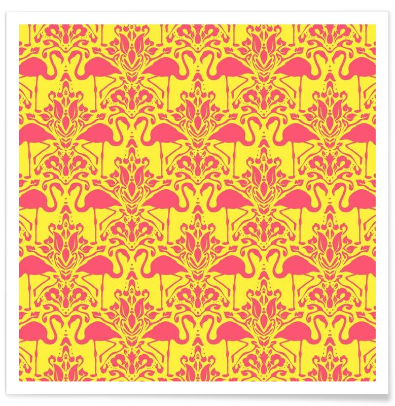 Flamingo Damask - yellow -Poster
