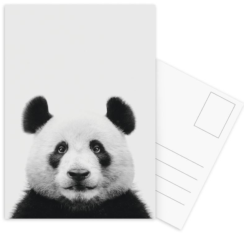 Kinderzimmer & Kunst für Kinder, Schwarz & Weiß, Pandas, Panda II -Postkartenset