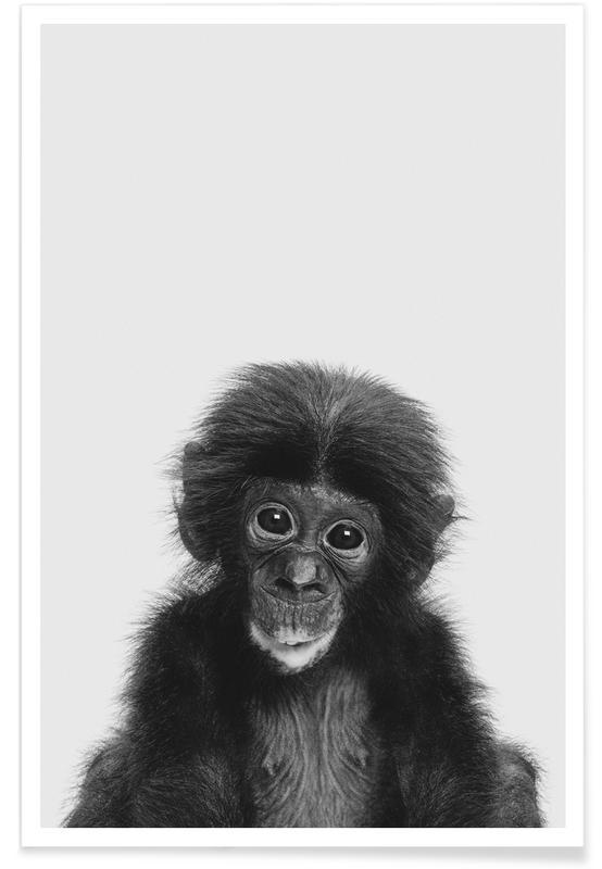 Nursery & Art for Kids, Monkeys, Black & White, Bonobo Classic Poster