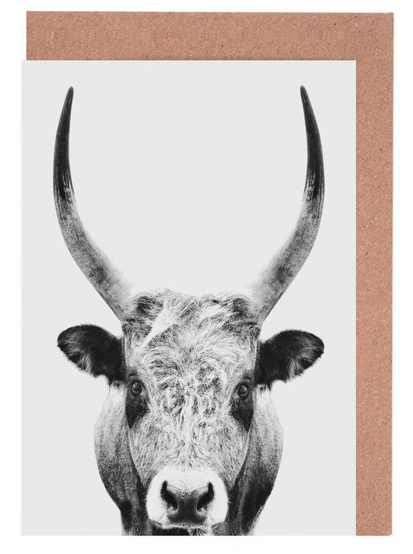 Kinderzimmer & Kunst für Kinder, Kühe, Schwarz & Weiß, Bull Classic -Grußkarten-Set