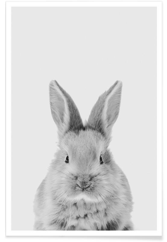 Lapins, Art pour enfants, Pâques, Noir & blanc, Bunny Classic affiche