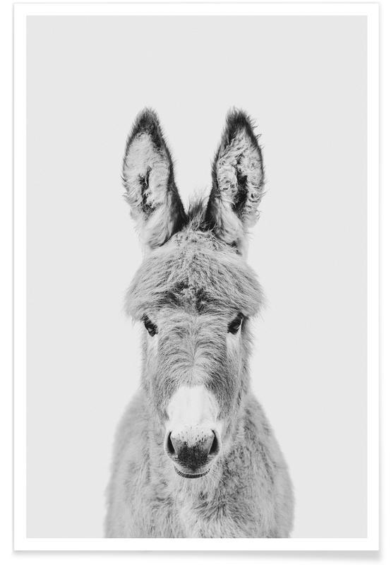Sort & hvidt, Børneværelse & kunst for børn, Donkey Classic Plakat