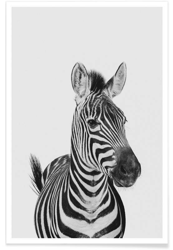 Noir & blanc, Art pour enfants, Animaux de safari, Zebra Classic affiche