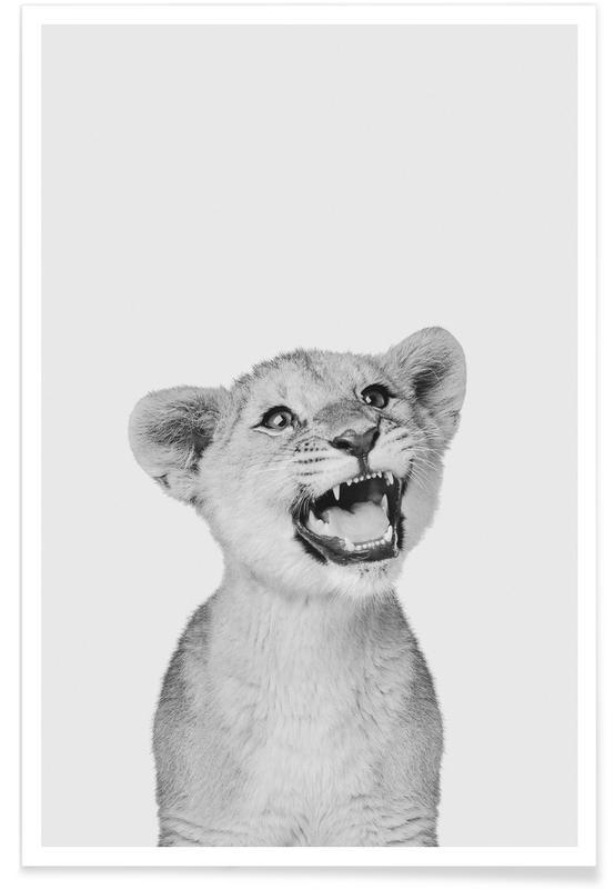 Black & White, Nursery & Art for Kids, Safari Animals, Lion Cub Classic Poster