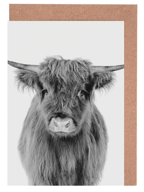 Highland Cows, Black & White, Nursery & Art for Kids, Cows, Young Highland Cow Classic Greeting Card Set