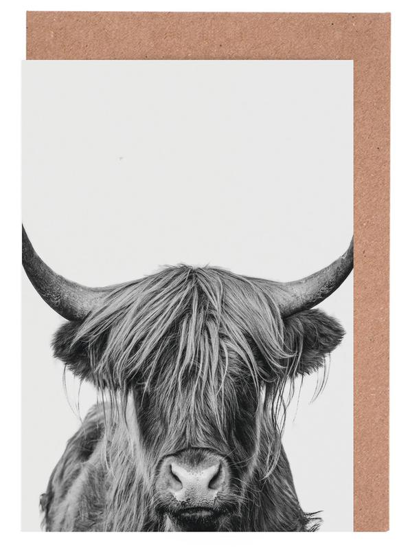 Hochlandrinder, Kinderzimmer & Kunst für Kinder, Kühe, Schwarz & Weiß, Highland Cow Classic -Grußkarten-Set