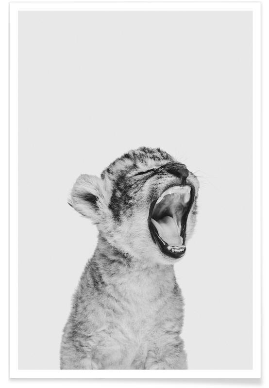 Art pour enfants, Léopards, Noir & blanc, Sleepy Leopard Classic affiche