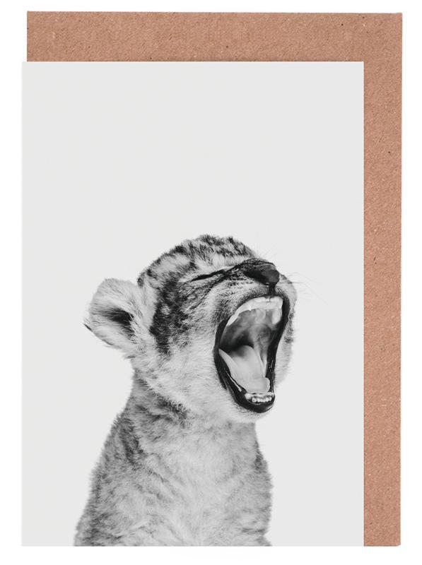 Leoparden, Kinderzimmer & Kunst für Kinder, Schwarz & Weiß, Sleepy Leopard Classic -Grußkarten-Set