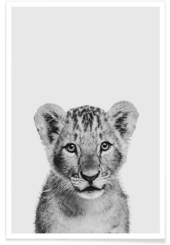 Noir & blanc, Art pour enfants, Animaux de safari, Lion Cub II Classic affiche