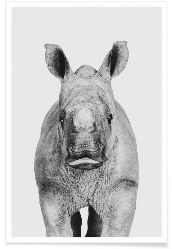 Sort & hvidt, Børneværelse & kunst for børn, Safari dyr, Rhino Classic Plakat