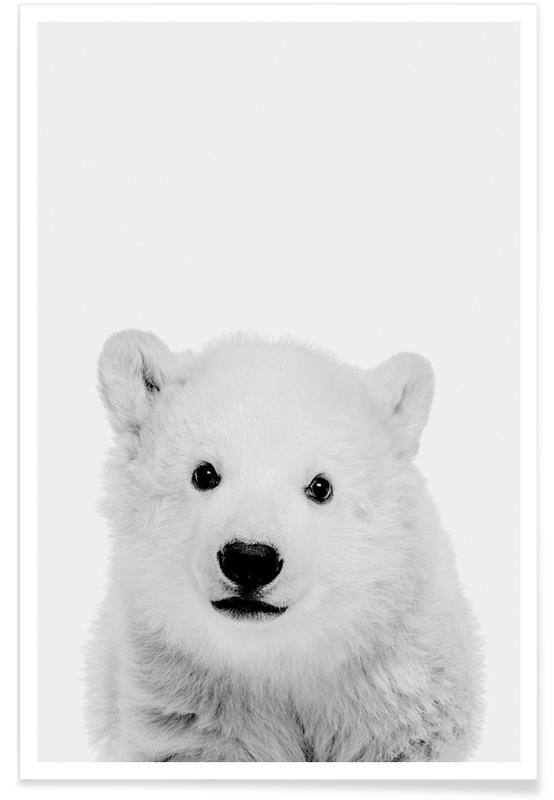 Art pour enfants, Ours, Noël, Noir & blanc, Polar Bear Classic affiche