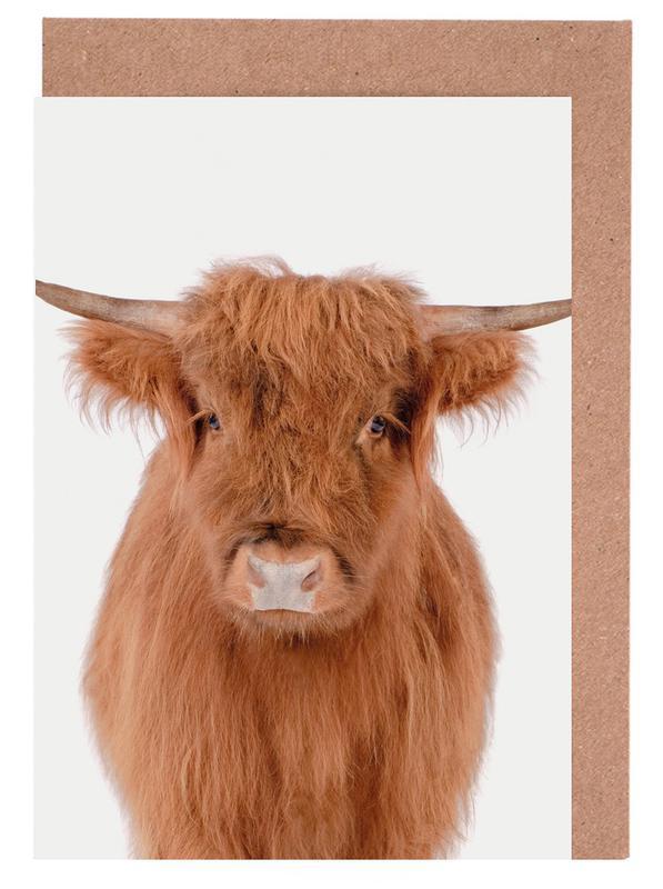 Kühe, Kinderzimmer & Kunst für Kinder, Young Highland Cow -Grußkarten-Set