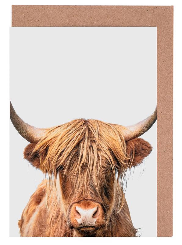 Hochlandrinder, Kinderzimmer & Kunst für Kinder, Kühe, Highland Cow -Grußkarten-Set