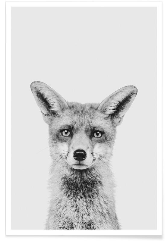 Schwarz & Weiß, Kinderzimmer & Kunst für Kinder, Füchse, Weihnachten, Fox Classic -Poster