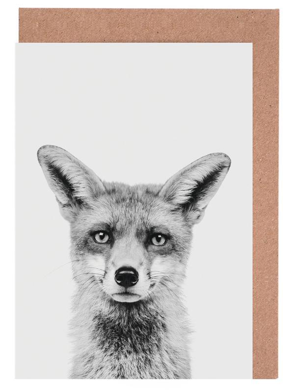 Füchse, Weihnachten, Kinderzimmer & Kunst für Kinder, Schwarz & Weiß, Fox Classic -Grußkarten-Set
