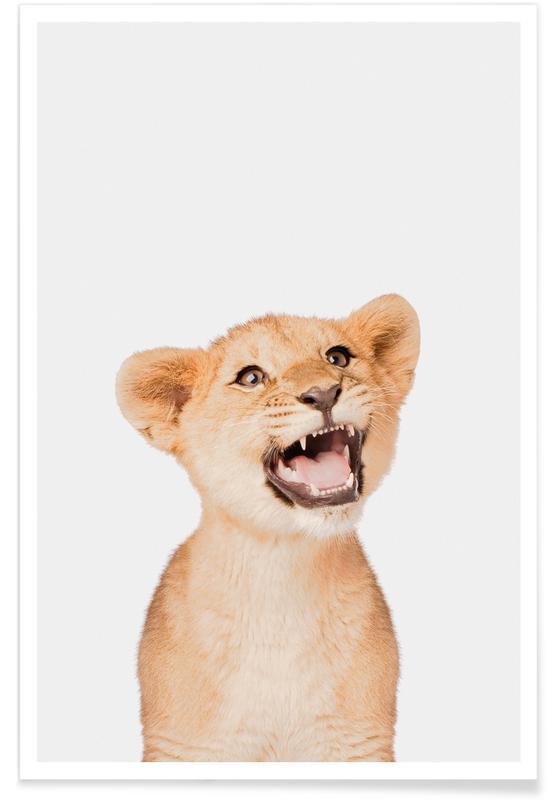 Art pour enfants, Animaux de safari, Lion Cub affiche