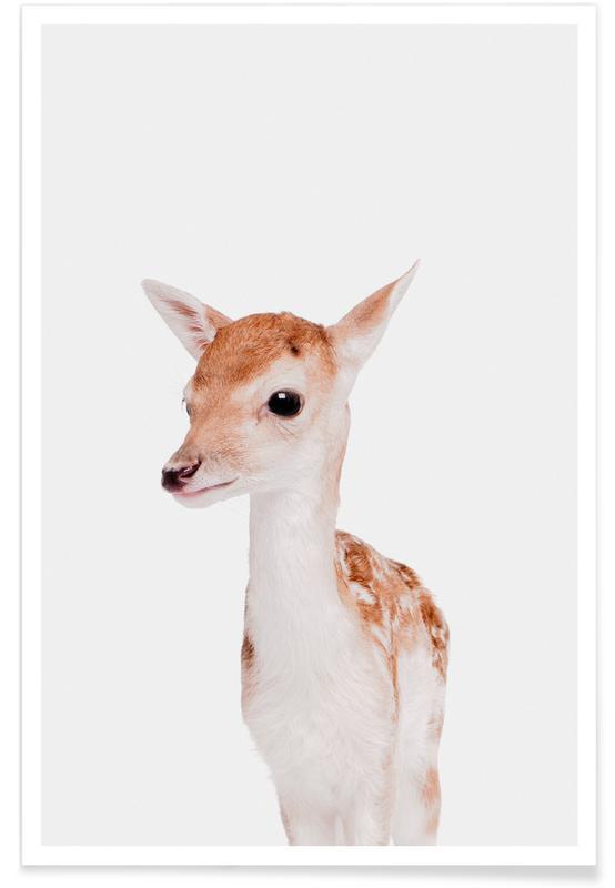 Cerfs, Art pour enfants, Noël, Fawn affiche