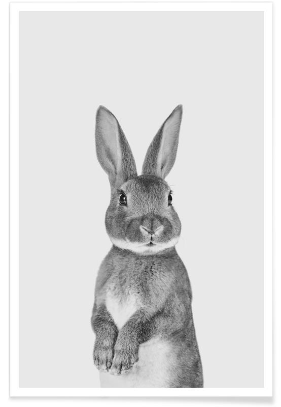 Lapins, Art pour enfants, Pâques, Noir & blanc, Paws & ClawsBunny affiche