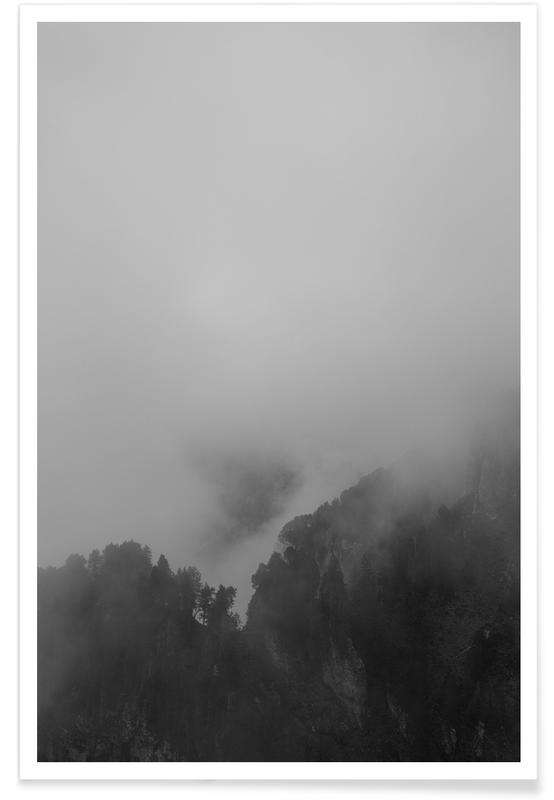 Mountains, Treetops In The Mist Poster