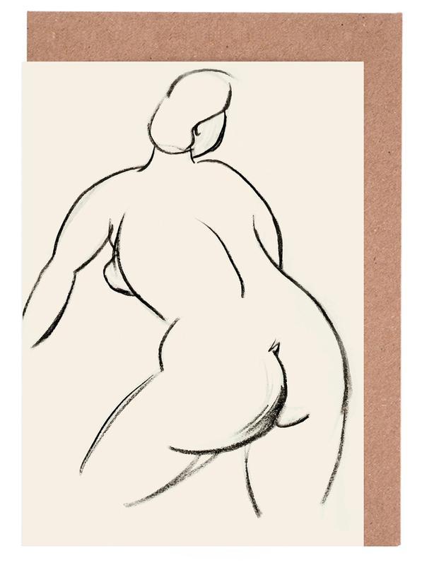 Akte, Körperformen, Extended Back -Grußkarten-Set
