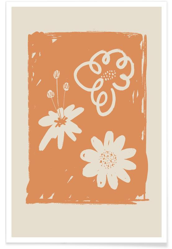 , Wildflowers Orange -Poster