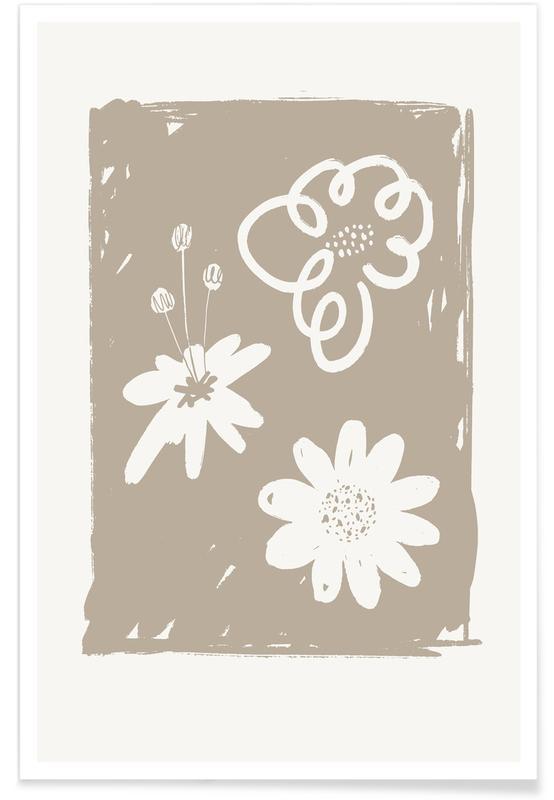 , Wildflowers Brown Poster