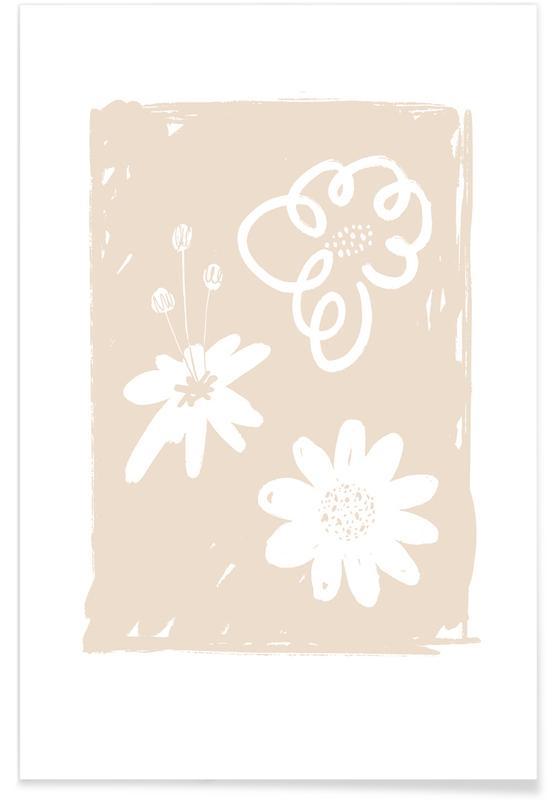 , Wildflowers Beige affiche
