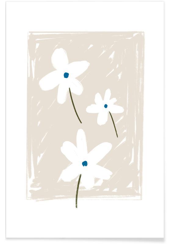 , Dasies Soft Beige Poster