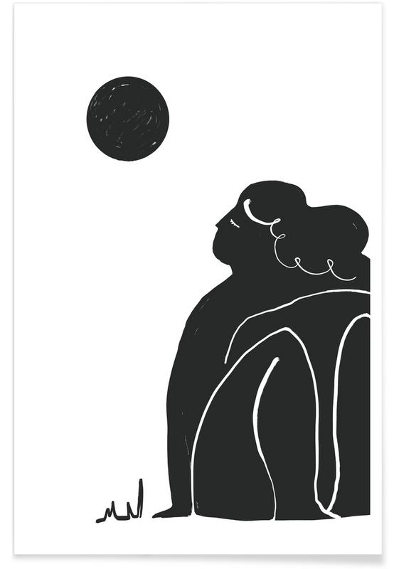 Portretten, Zwart en wit, Moon Meditation poster