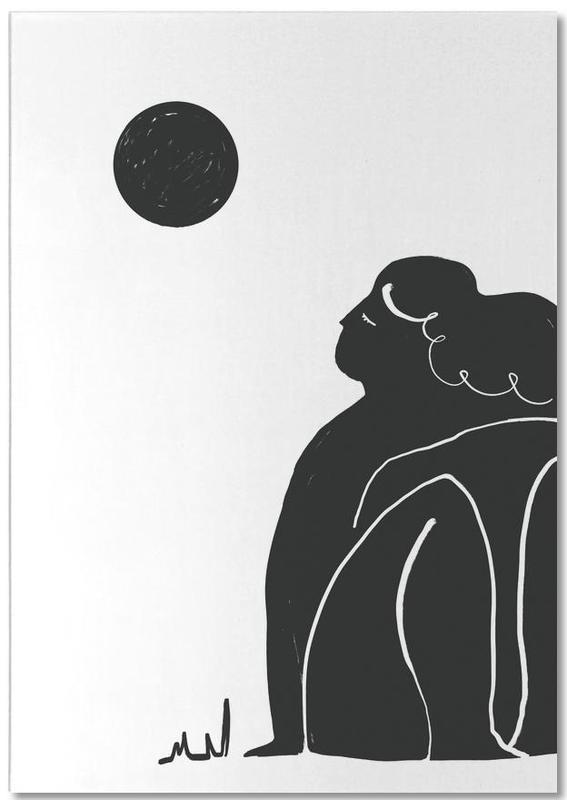 Porträts, Schwarz & Weiß, Moon Meditation -Notizblock