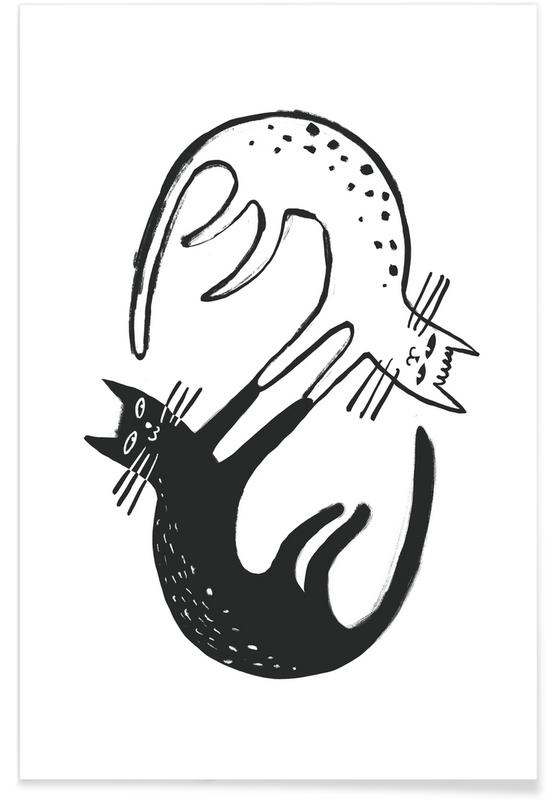 Cats, Black & White, Kitten Around Poster