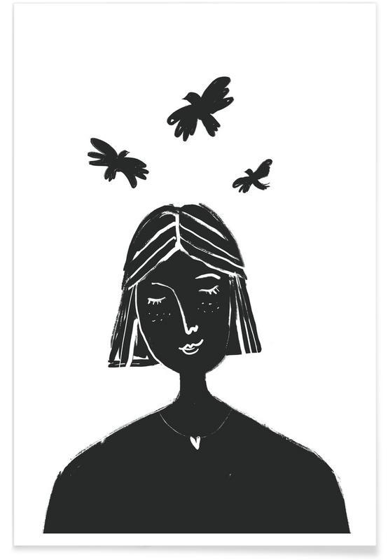 Portraits, Noir & blanc, Hovering affiche