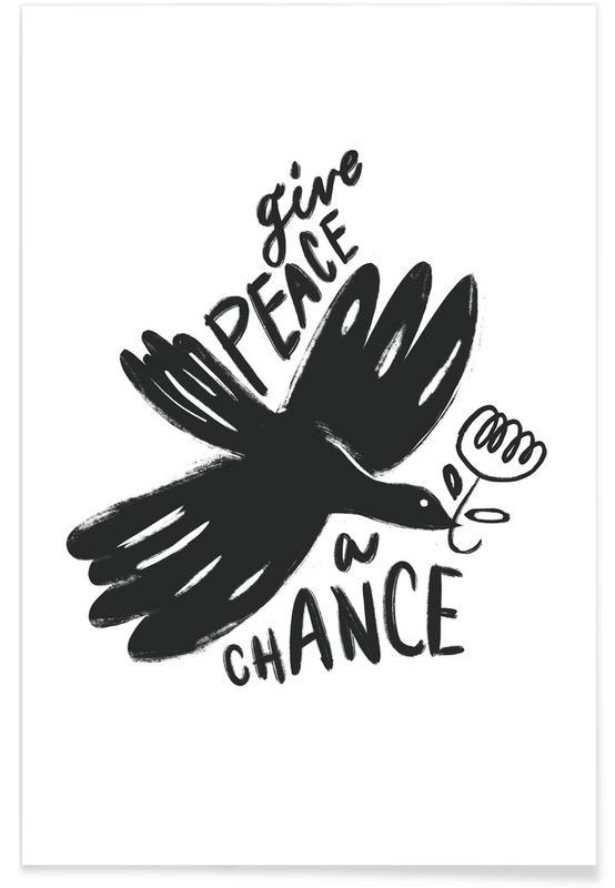 Zwart en wit, Give Peace a Chance poster