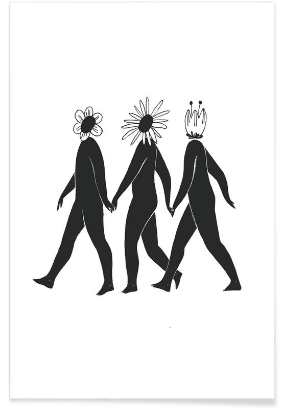 Portretten, Zwart en wit, Flower Friends poster