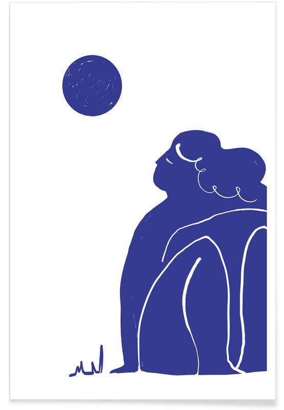 , Moon Meditation Blue Poster
