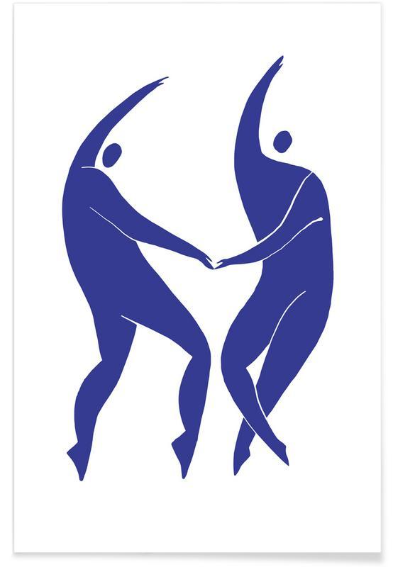 Portretten, Dancing Figures Blue poster