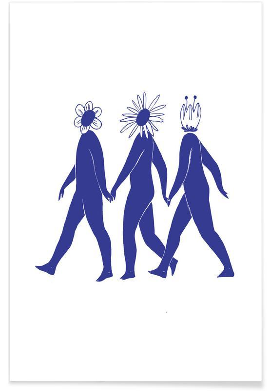 , Flower Friends Blue Poster