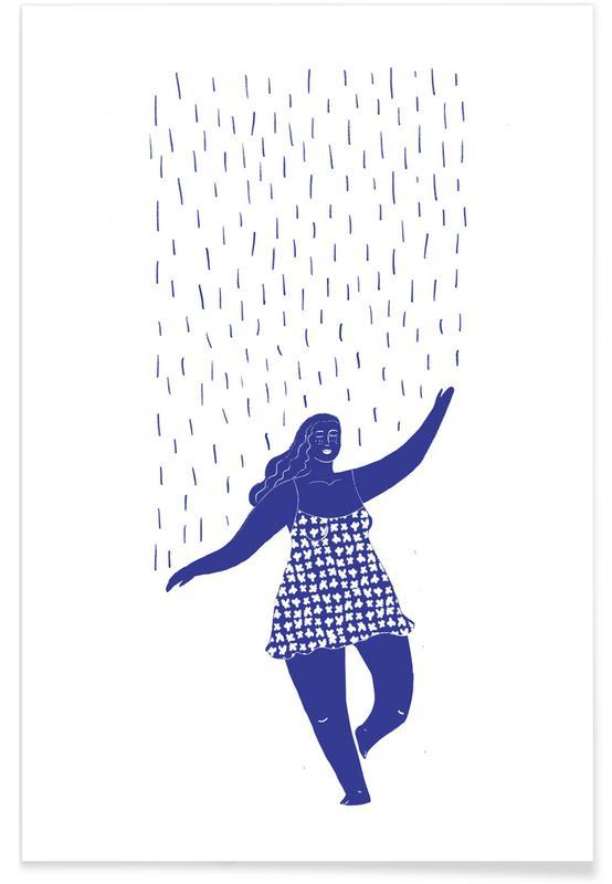 , Dancing in the Rain Blue affiche