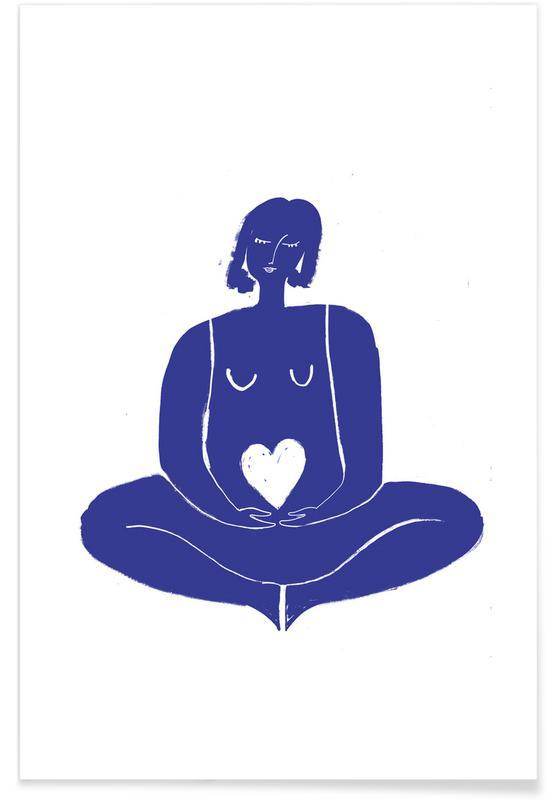 Portretten, Zwart en wit, Pose of Peace Blue poster