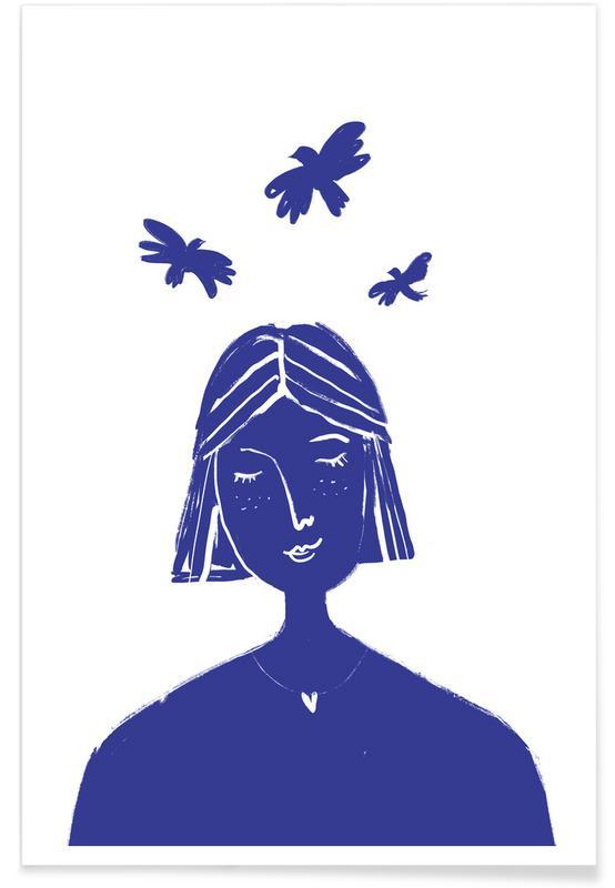 , Hovering Blue -Poster