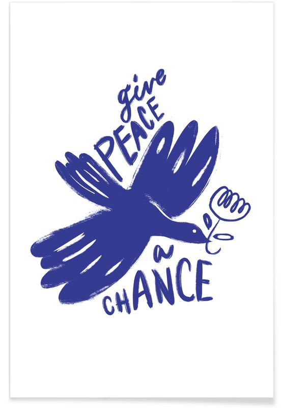 , Give Peace A Chance Blue -Poster