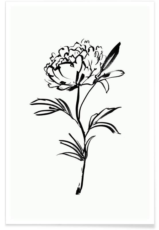 Black & White, Simple Peony Poster